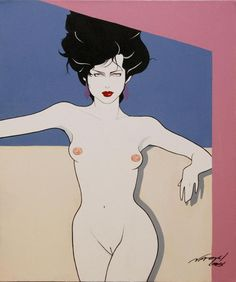 PATRICK NAGEL OIL PAINTING ON CANVAS OF NUDE FEMALE