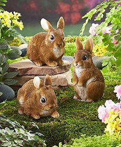 Set of 3 Bunny Family Whimsical Easter Rabbits Garden Springtime Statue Sculpture