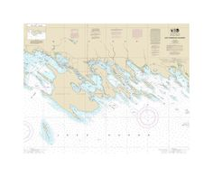 Les Cheneaux Islands Nautical Chart Sailcloth Print