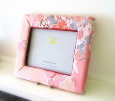 Pink photo frame with wedding KIMONO fabric spring flower