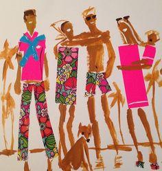 """Fashion illustration by Donald """"Drawbertson"""" Robertson, June 2014."""