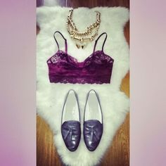 #CreatedByKeeo // These are a few of my favourite things // Lace bralet / Loafers// WAY oversized chunky necklace. Love love love.