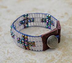Loomed Beaded Bracelet with Cross Bling - Sundance Style Artisan Jewelry - Bling Bling by SplendorVendor