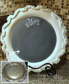 Old Tray Turned Chalkboard Menu - thrifty finds made over with Chalk Paint! - http://artsychicksrule.com  Super easy with old thrifty trays!