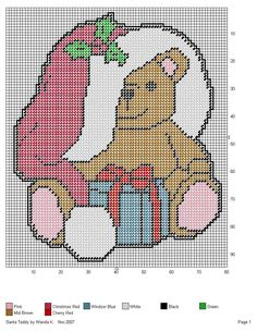 SANTA TEDDY by WANDA K. -- WALL HANGING