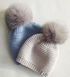Pompon-bere-ornegi – New Ideas - Knitting and Crochet Diy Crafts Knitting, Knitting For Kids, Loom Knitting, Free Knitting, Knitting Projects, Baby Hat Patterns, Baby Knitting Patterns, Crochet Patterns, Crochet Baby