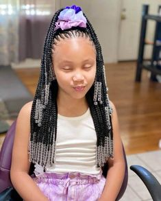 Lil Girl Hairstyles, Braids Hairstyles Pictures, Black Kids Hairstyles, Black Girl Braided Hairstyles, Girls Natural Hairstyles, Baddie Hairstyles, Prom Hairstyles, Little Girl Braid Styles, Kid Braid Styles