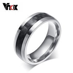 Vnox mode mannen ring koolstofvezel sieraden rvs ringen voor man klassieke kerstcadeaus