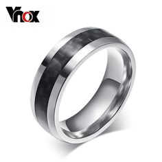 Vnox 패션 남성 링 탄소 섬유 보석 스테인레스 스틸 반지 남자 클래식 크리스마스 선물