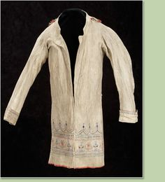 Métis Coat mid 19th century buckskin, porcupine quills, paint