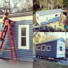 But it was too costly, so he found an flatbed trailer and built a square meter house Tiny Apartments, Tiny House Movement, Tiny House On Wheels, Photo Instagram, Dorm, Outdoor Structures, Tiny Homes, Building, Outdoor Decor