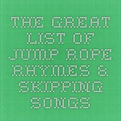 A collection of skipping rope songs, rhymes and chants for keeping the cadence. Enjoy these double dutch jump rope songs with your friends and fellow jumpers. Rhymes Songs, Kids Songs, Jump Rope Songs, Lets Play Music, Physical Play, Playground Games, Card Games For Kids, Teachers Aide, Skipping Rope