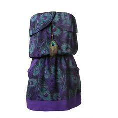 Peacock Chiffon Tube Dress-DRESSES-Styles for Less Clothes Womens & Juniors Fashions - Styles For Less
