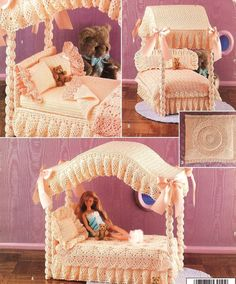 Canopy Bed Crochet Patterns Book Fashion Doll Furniture - Dolls & Toys www.bonanza.com