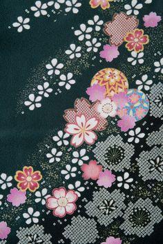 着物 No:775 商品名:黒 絞り桜