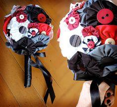 DIY Fabric Bouquet using a whisk and yo-yo flowers #FaerySarah #Wedding