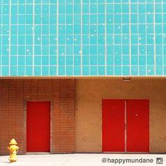 photo by happymundane on Instagram #turquoise #red #tile #architecture #brick #midcentury