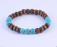 Men Wood Beaded Bracelete Turquoise Beads Beach Handmade Trendy Gift for Men | eBay