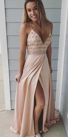 Spaghetti straps prom dresses,long prom dress, beaded prom gown,party dress with side slit Beige Prom Dresses, Pretty Prom Dresses, Gala Dresses, Prom Dresses Blue, Trendy Dresses, Prom Dress Long, Light Pink Formal Dresses, Best Homecoming Dresses, Evening Dresses