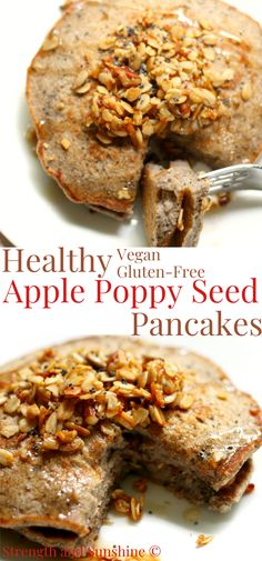 These Healthy Apple Poppy Seed Pancakes are vegan, gluten-free, and naturally sweet! This super easy pancake recipe is a perfect fall breakfast you can quickly make even on weekdays! Filled with applesauce, cinnamon, spices, and poppy seeds, top these pancakes with pure maple syrup, crunchy granola, or even some apple butter for one amazing start to the day! #pancakes #breakfast #apples #veganbreakfast #glutenfreepancakes