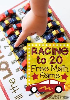 Racing to 20 free math game from Mrs. Jones' Creation Station is a great way for your kindergarteners to put their math skills to work. This hands-on game allows your kids to practice counting to 20, simple addition and number recognition. Grab the free game and get to learning math with your kindergarteners. #countinggames #mathgames #freeprintable #homeschool #classroom #kindergarten
