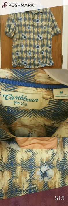 Men's Caribbean Hawaiian  Shirt This is a men's Caribbean brand Hawaiian shirt. Item is in great condition. Made from pure silk. Has a pocket on the chest that blends in. Definitely is a slim fit and probably could pass as a small. Caribbean Shirts Casual Button Down Shirts