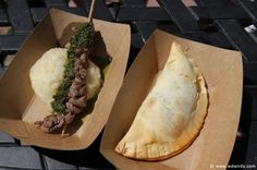 Argentina - Beef Empanada and Grilled Beef Skewer with Chimichurri Sauce and Boniato Puree
