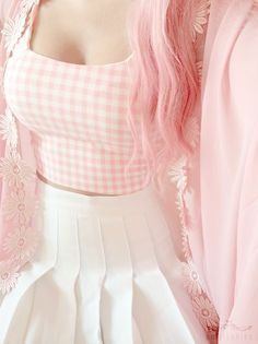 nice I Love This Pink And White Checkered Crop Top And This High Wasted Skirt! I Need... by http://www.newfashiontrends.pw/kawaii-fashion/i-love-this-pink-and-white-checkered-crop-top-and-this-high-wasted-skirt-i-need/