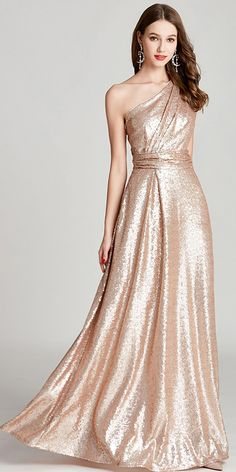 NEW! In Stock Romantic Sequins Lace One Shoulder Neckline Floor-length A-line Formal Dress