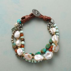 54c5af5685b COUNTRY DAWN BRACELET -- Knotted leather holds tiers of turquoise