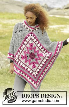 "Desert Star - Poncho DROPS all'uncinetto, con motivo jacquard in ""Eskimo"". Taglie: Dalla S alla XXXL. - Free pattern by DROPS Design"