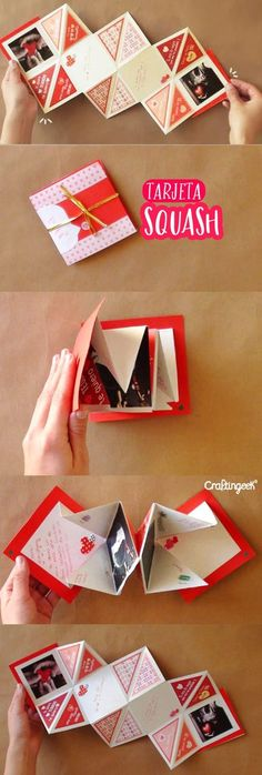 Original gifts to give to your partner in Valentine's Day Crafts For Teens, Diy And Crafts, Kids Crafts, Bf Gifts, Boyfriend Gifts, Squash Card, Diy Paper, Paper Crafts, Fabric Crafts