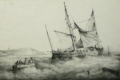 """""""Chasse-marée au mouillage"""",  lithograph  by F. Perrot,  c.1830. Found often  lavishly colored.   A particularly good and lively representation of this  of this then ubiquitous  type of sailing coaster. After having achieved or published a good number of very interesting works in his native region of Brest, Ferdinand Perrot took the opportunity of taking an office of naval painter at St Petersburg, Russia."""