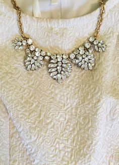 Textured top and sparkly statement necklace. Cute Jewelry, Jewelry Box, Other Accessories, Jewelry Accessories, She's A Lady, Classy And Fabulous, Diamond Are A Girls Best Friend, Boutique, Passion For Fashion