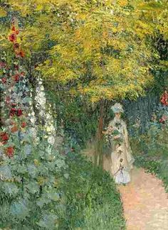 Claude Monet - the garden walk - my title for this beauty. I LOVE MONET! Claude Monet, Pierre Auguste Renoir, Manet, Monet Paintings, Landscape Paintings, Artist Monet, Garden Painting, Painting Art, Hollyhock