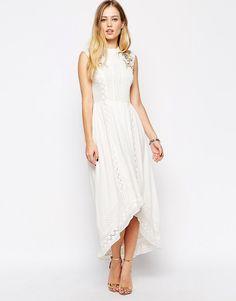 ASOS Premium Drop Hem Dress with Bird Embroidery