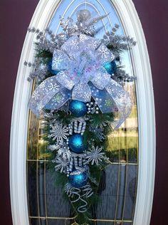 Christmas Wreath Winter Wreath Vertical Teardrop Door Swag