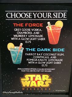 Choose Your Side Cocktails. Party Drinks, Fun Drinks, Yummy Drinks, Beverages, Star Wars Wedding, Star Wars Party, Disney Cocktails, Star Wars Food, Cocktail And Mocktail