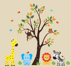 Safari Wall Decal - 128 - Nursery Wall Decal - Jungle Wall Decal. $174.95, via Etsy.