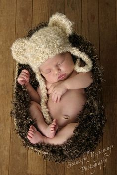 Crochet Tan Bear Hat Baby Boy Bear  Hat Baby Girl by properbaby, $15.00