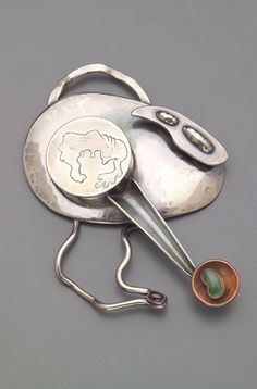 Brooch | Sam Kramer, 1943. Silver, copper and semi-precious stones.