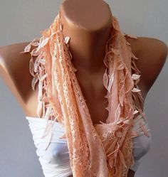 Salmon Lace and Elegance Shawl / Scarf  with Lace Edge by womann, $17.90