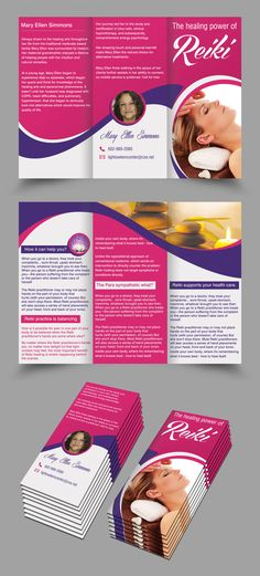 Tri fold brochure design on Reiki Leaflet Design, Usui, Reiki Energy, Home Health, Flyer Design, Brochure Ideas, Banner, Healing, Tri Fold