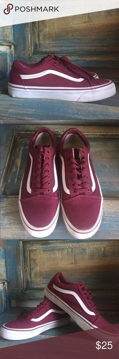 Vans Shoes Awesome Maroon Vans!  Great Condition!  Look practically new!!!  Vans logo a little worn on back, otherwise nothing wrong AT ALL with them!!!  They are Men's size 8 and Ladies size 9.5 Vans Shoes Sneakers