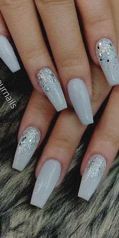 32 Extraordinary White Acrylic Nail Designs to Finish Your Trendy Look - White Coffin Acrylic Nails #whitenails #acrylicnaildesigns #whitecoffinnails #formalnails Xmas Nails, Prom Nails, Christmas Nails, Fun Nails, Love Nails, Wedding Nails, Cute Acrylic Nail Designs, Best Acrylic Nails, Nail Art Designs