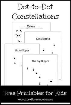 Great resource for Exploring Creation with Astronomy: Learn about constellations with these printable dot-to-dot- pages for kids. Outer space unit study, number sequencing for kids, teaching kids to count, pencil control. Teaching Science, Science For Kids, Science Activities, Teaching Kids, Kids Learning, Science Education, Physical Education, Space Activities For Kids, Star Science