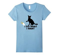 funny cat shirts for women - Womens Halloween I Do What I Want Funny Cat T-Shirt Large Baby Blue * See this great product. (This is an affiliate link) #FunnyCats