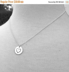 On Sale Large Hand Stamped Heart Necklace by GirlBurkeStudios