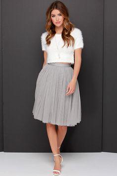 Cute Grey Skirt - Tulle Skirt - Ballerina Skirt - $65.00