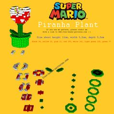 3D Pirahna plant - Super Mario perler pattern by free beads patterns